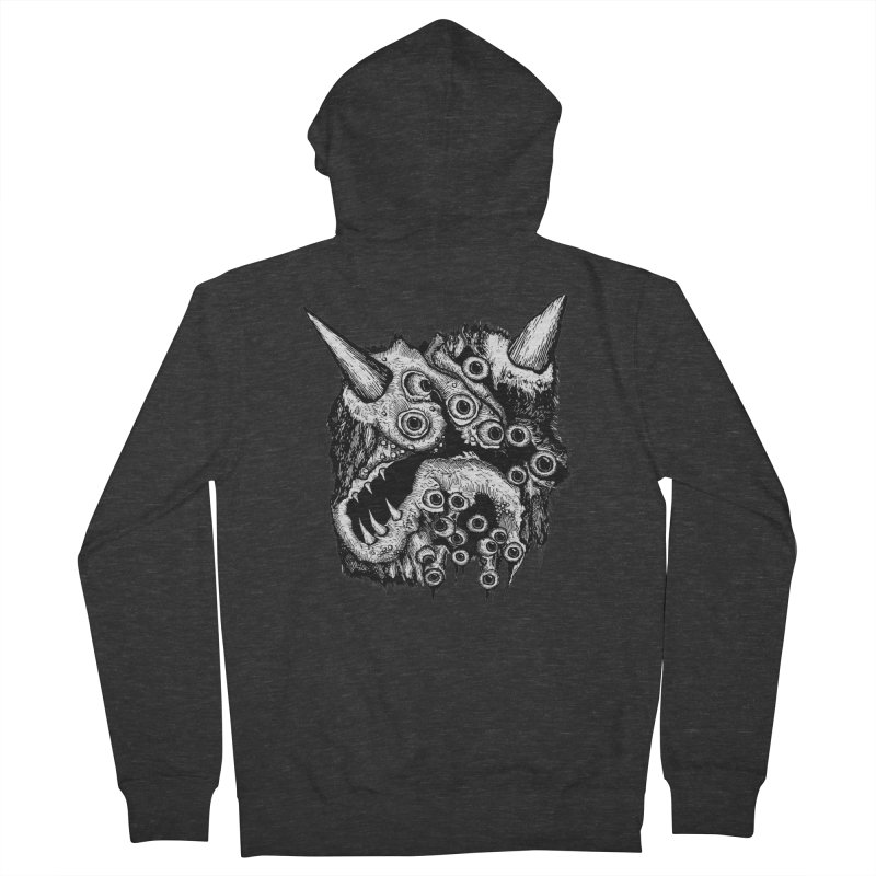 Monster Eyeball Demon Woodcut Women's French Terry Zip-Up Hoody by stampedepress's Artist Shop