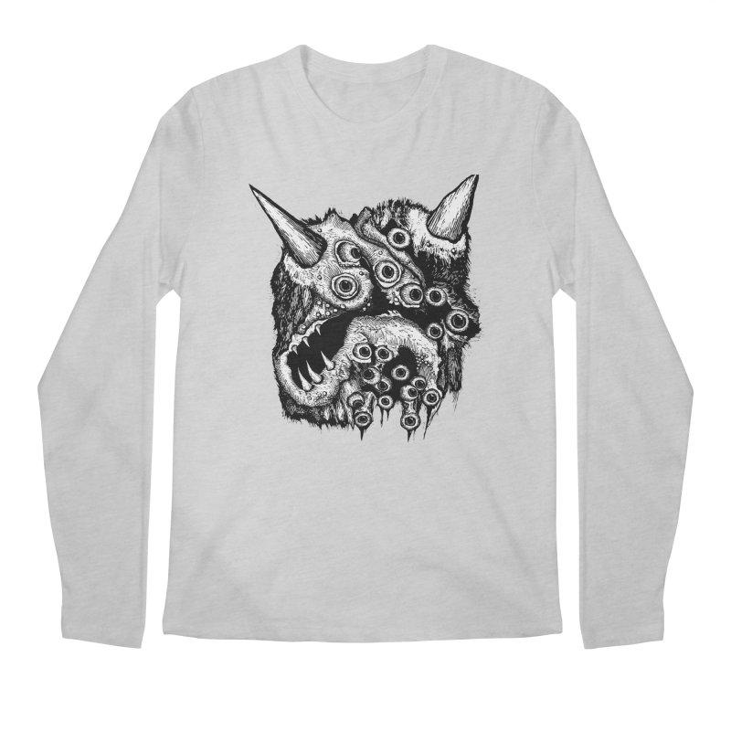 Monster Eyeball Demon Woodcut Men's Regular Longsleeve T-Shirt by stampedepress's Artist Shop