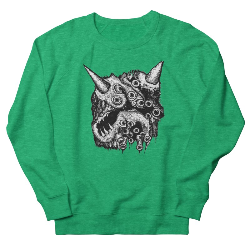 Monster Eyeball Demon Woodcut Women's French Terry Sweatshirt by stampedepress's Artist Shop