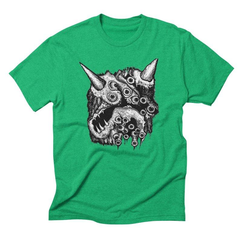 Monster Eyeball Demon Woodcut Men's Triblend T-Shirt by stampedepress's Artist Shop