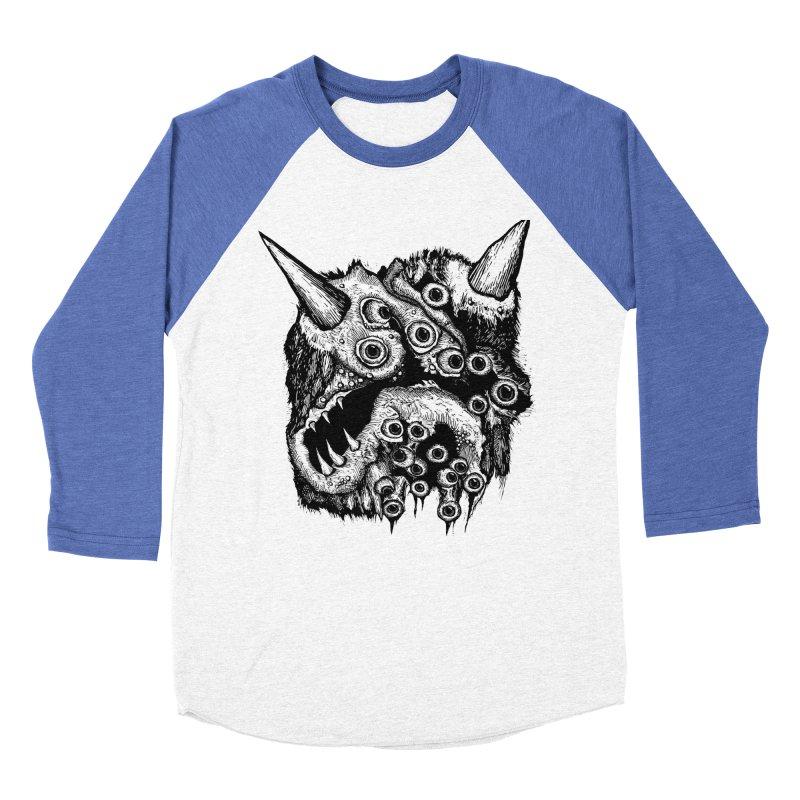 Monster Eyeball Demon Woodcut Women's Baseball Triblend Longsleeve T-Shirt by stampedepress's Artist Shop