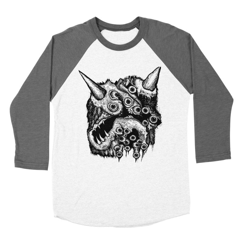 Monster Eyeball Demon Woodcut Men's Baseball Triblend T-Shirt by stampedepress's Artist Shop