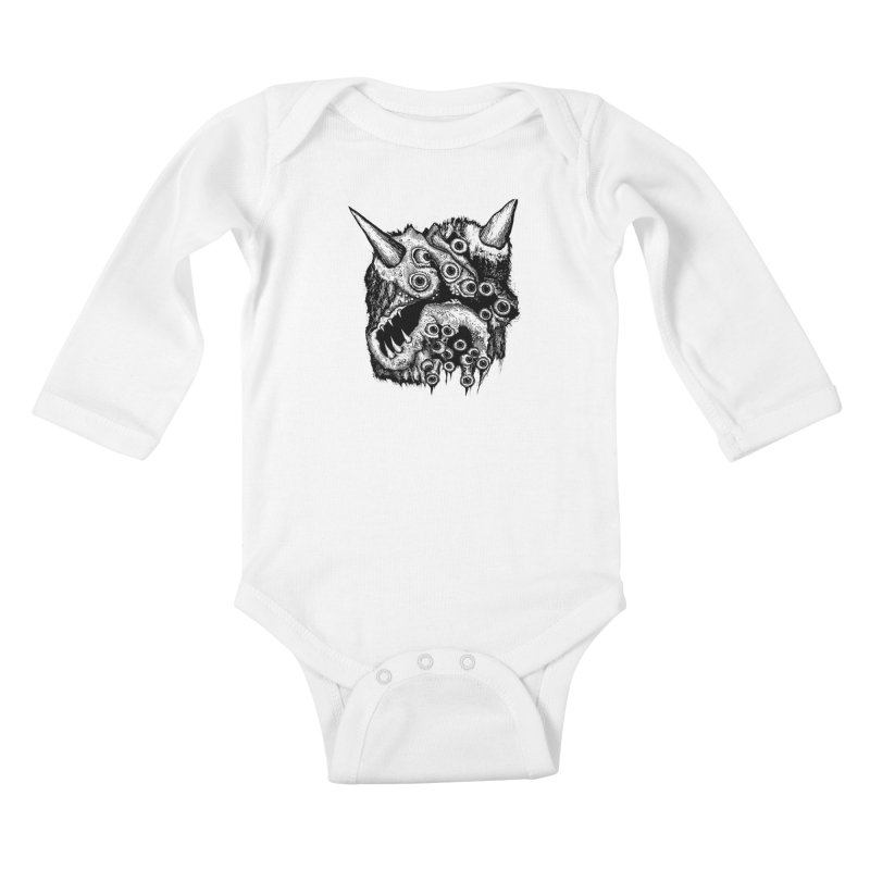 Monster Eyeball Demon Woodcut Kids Baby Longsleeve Bodysuit by stampedepress's Artist Shop