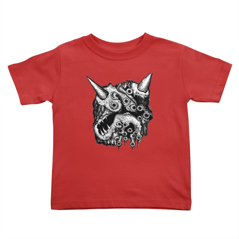 Monster Eyeball Demon Woodcut Kids Toddler T-Shirt by stampedepress's Artist Shop