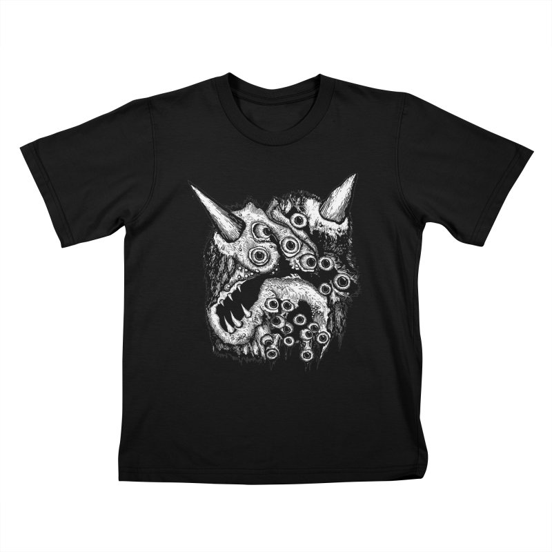 Monster Eyeball Demon Woodcut Kids T-Shirt by stampedepress's Artist Shop