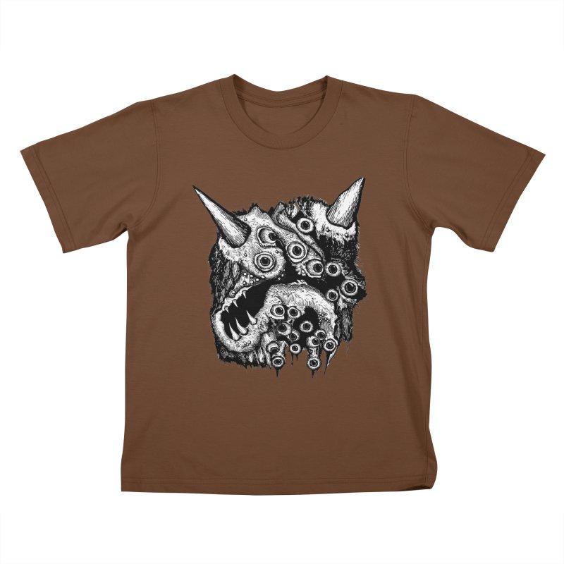 Monster Eyeball Demon Woodcut Kids T-Shirt by stampedepress's Artist Shop