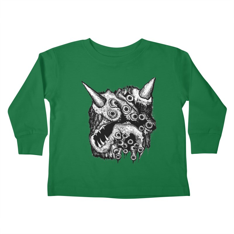 Monster Eyeball Demon Woodcut Kids Toddler Longsleeve T-Shirt by stampedepress's Artist Shop