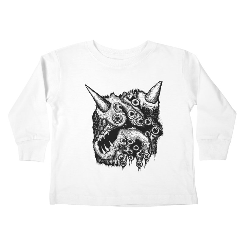 Monster Eyeball Demon Woodcut Kids Toddler Longsleeve T-Shirt by stampedepress's Artist Shop