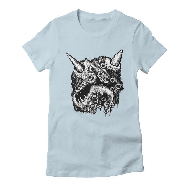 Monster Eyeball Demon Woodcut Women's Fitted T-Shirt by stampedepress's Artist Shop