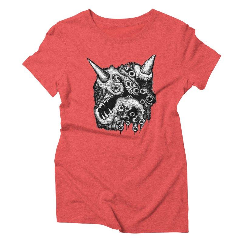 Monster Eyeball Demon Woodcut Women's Triblend T-Shirt by stampedepress's Artist Shop