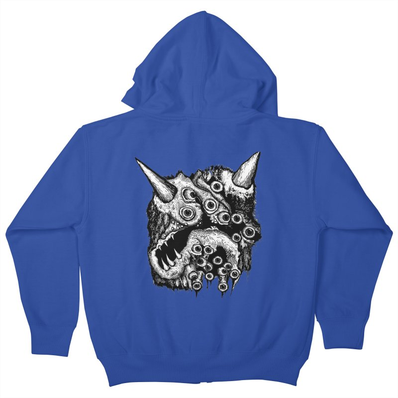 Monster Eyeball Demon Woodcut Kids Zip-Up Hoody by stampedepress's Artist Shop