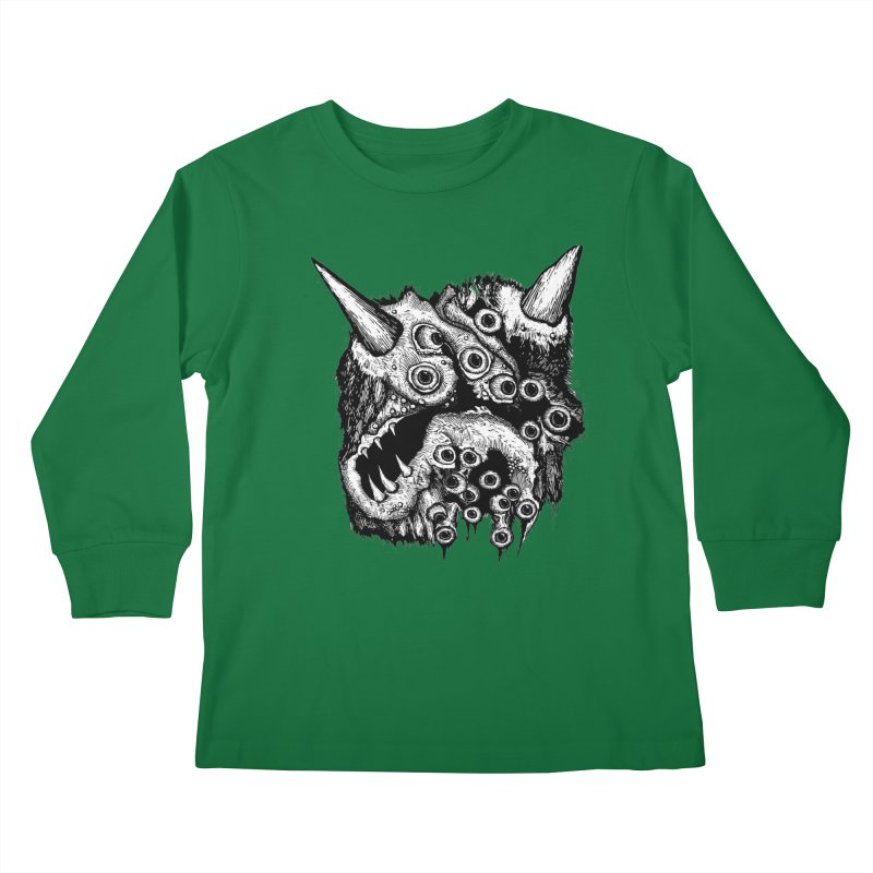 Monster Eyeball Demon Woodcut Kids Longsleeve T-Shirt by stampedepress's Artist Shop