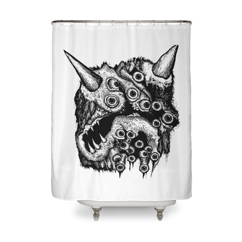 Monster Eyeball Demon Woodcut Home Shower Curtain by stampedepress's Artist Shop