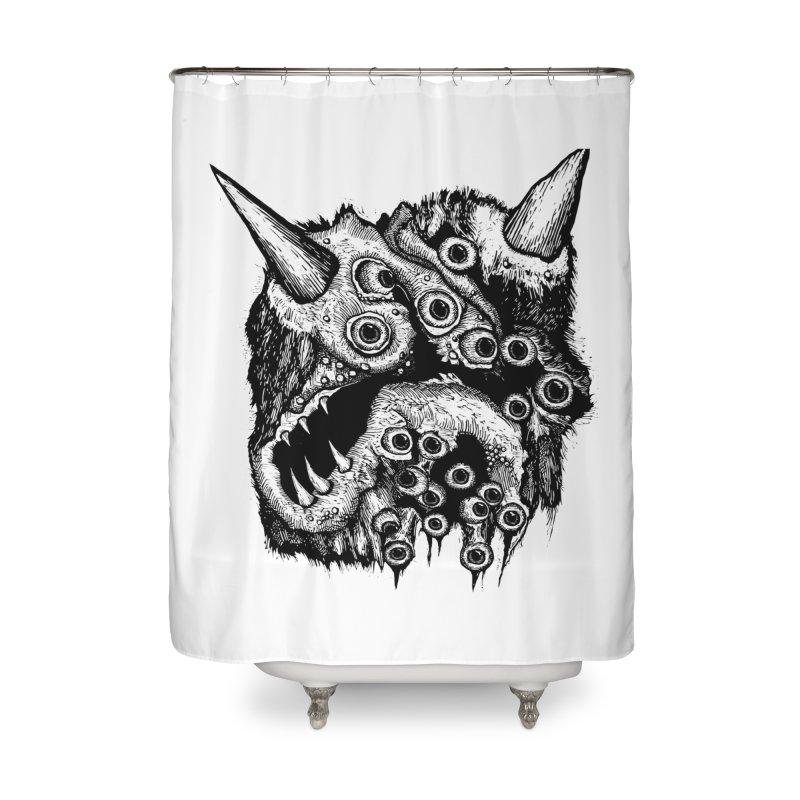 Monster Eyeball Demon Woodcut Home Shower Curtain by stampedepress's Artist Shop