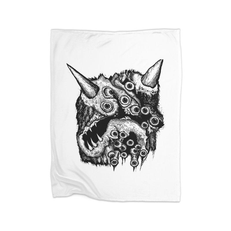 Monster Eyeball Demon Woodcut Home Blanket by stampedepress's Artist Shop
