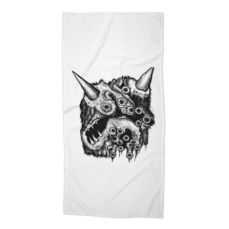 Monster Eyeball Demon Woodcut Accessories Beach Towel by stampedepress's Artist Shop