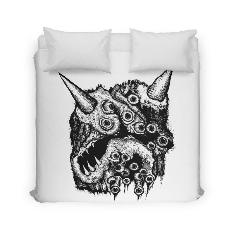 Monster Eyeball Demon Woodcut Home Duvet by stampedepress's Artist Shop