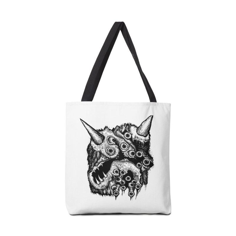 Monster Eyeball Demon Woodcut Accessories Bag by stampedepress's Artist Shop