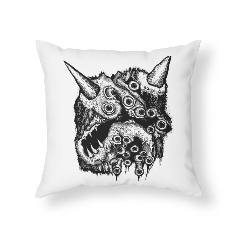 Monster Eyeball Demon Woodcut Home Throw Pillow by stampedepress's Artist Shop