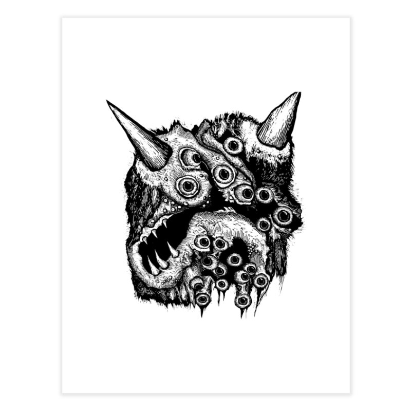 Monster Eyeball Demon Woodcut Home Fine Art Print by stampedepress's Artist Shop