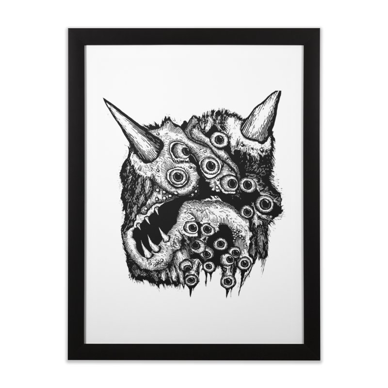 Monster Eyeball Demon Woodcut Home Framed Fine Art Print by stampedepress's Artist Shop