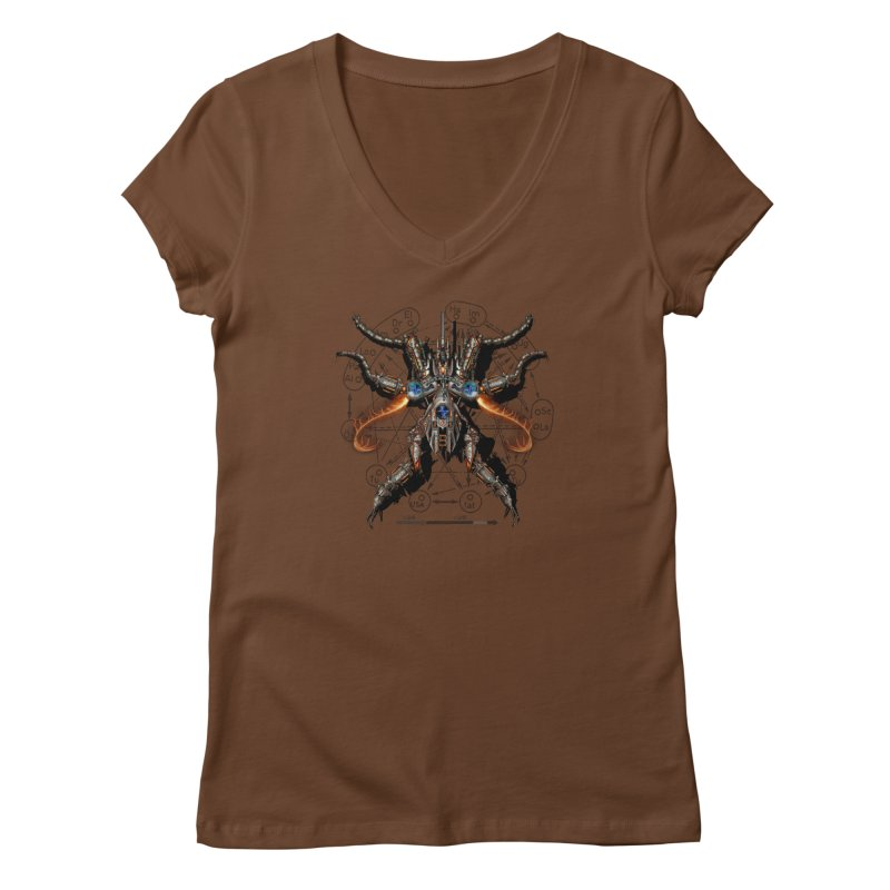 Mech Mosquito Pentagram of Evil Data Women's V-Neck by stampedepress's Artist Shop