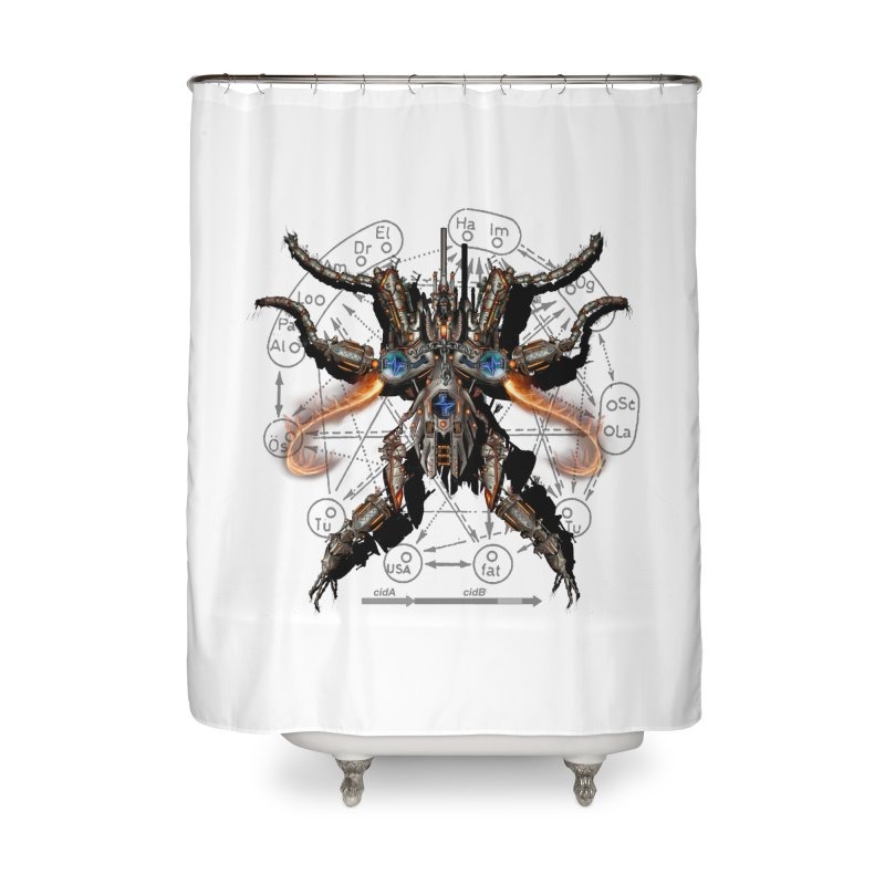 Mech Mosquito Pentagram of Evil Data Home Shower Curtain by stampedepress's Artist Shop