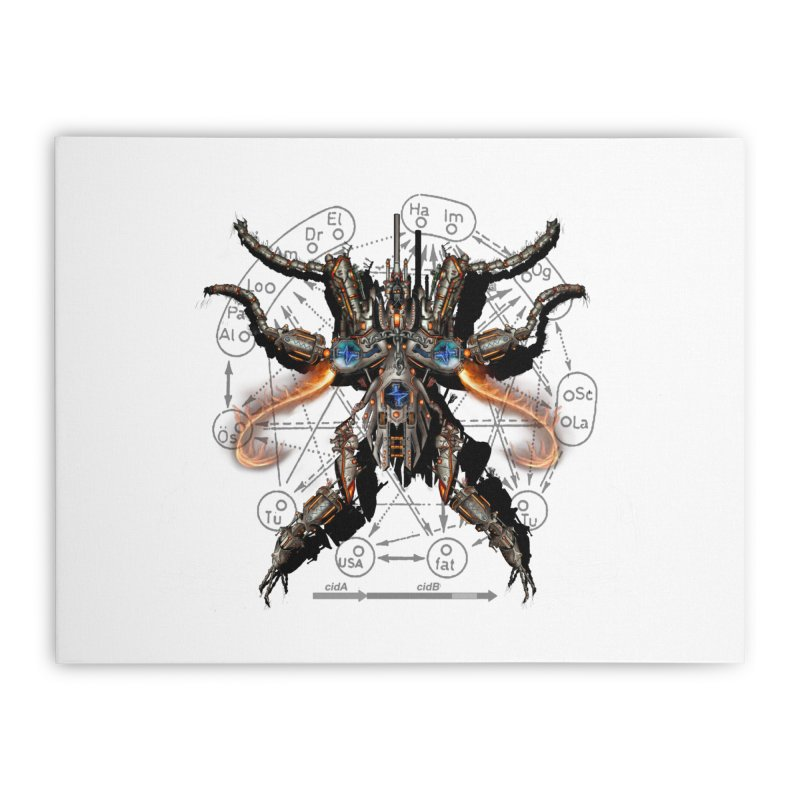 Mech Mosquito Pentagram of Evil Data Home Stretched Canvas by stampedepress's Artist Shop