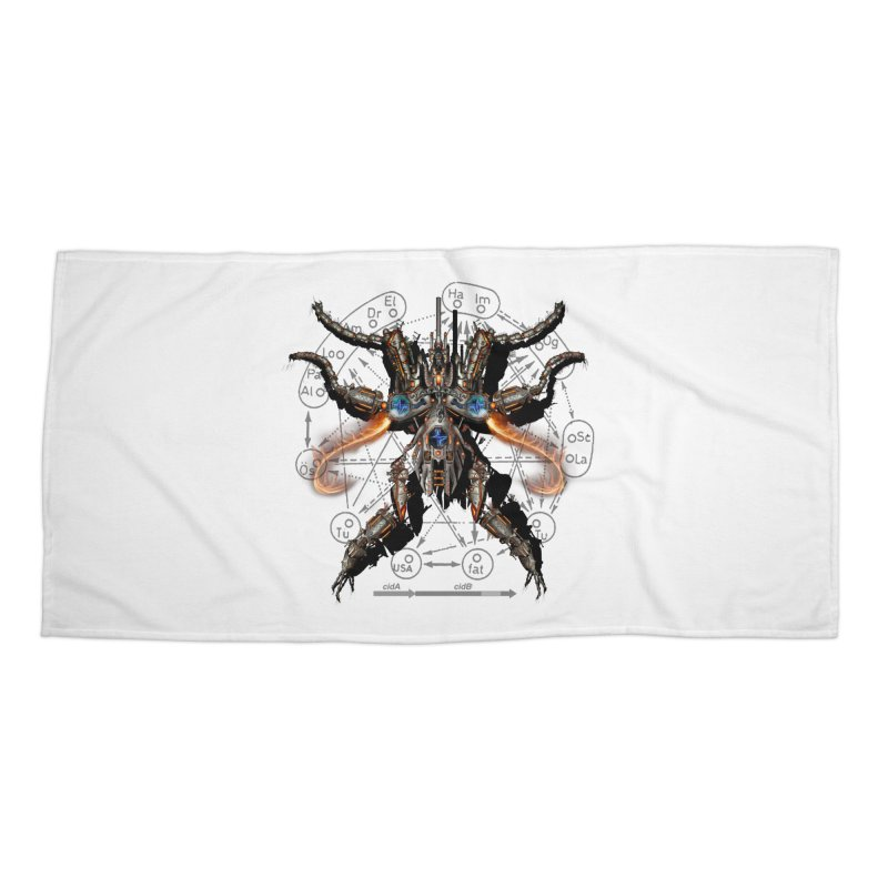 Mech Mosquito Pentagram of Evil Data Accessories Beach Towel by stampedepress's Artist Shop