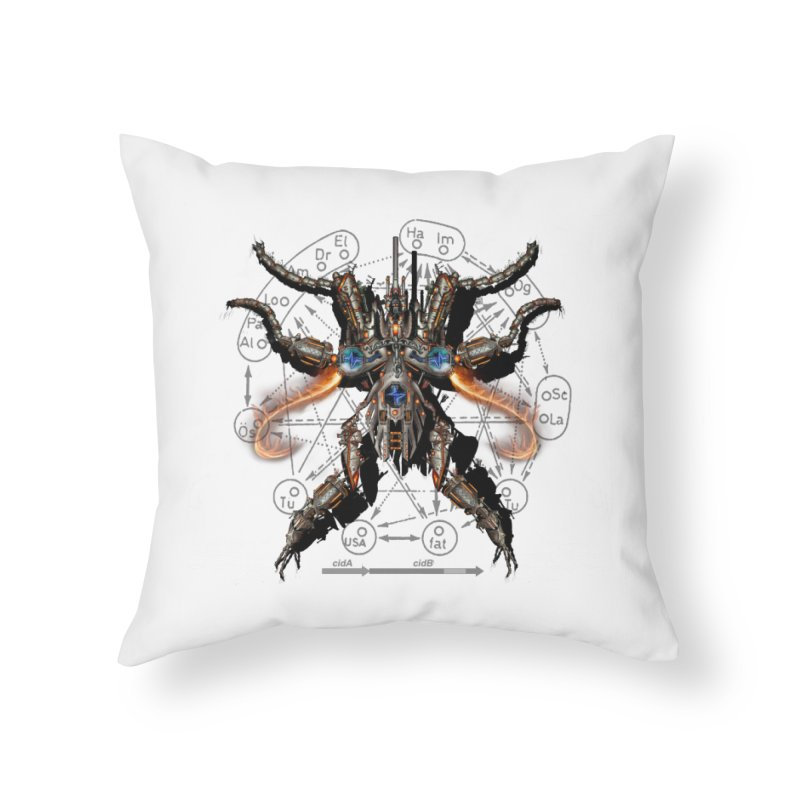 Mech Mosquito Pentagram of Evil Data Home Throw Pillow by stampedepress's Artist Shop