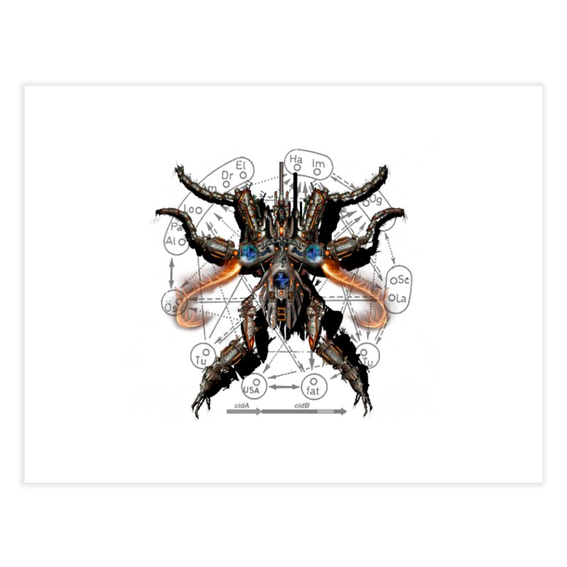 Mech Mosquito Pentagram of Evil Data Home Fine Art Print by stampedepress's Artist Shop