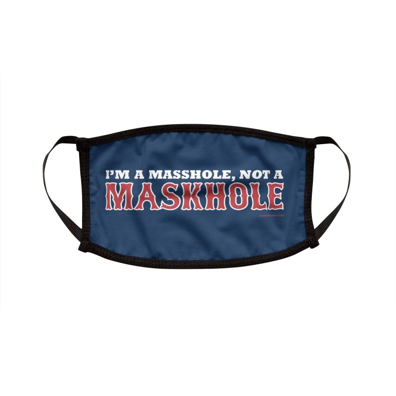 I'm A Masshole, Not A Maskhole (red on blue) Mugs, Buttons, & More Face Mask by Object/Tom Pappalardo