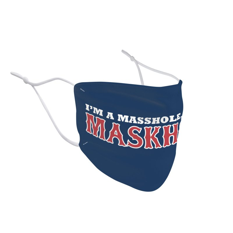 I'm A Masshole, Not A Maskhole (red on blue) Mugs, Buttons, & More Face Mask by Object/Tom Pappalardo
