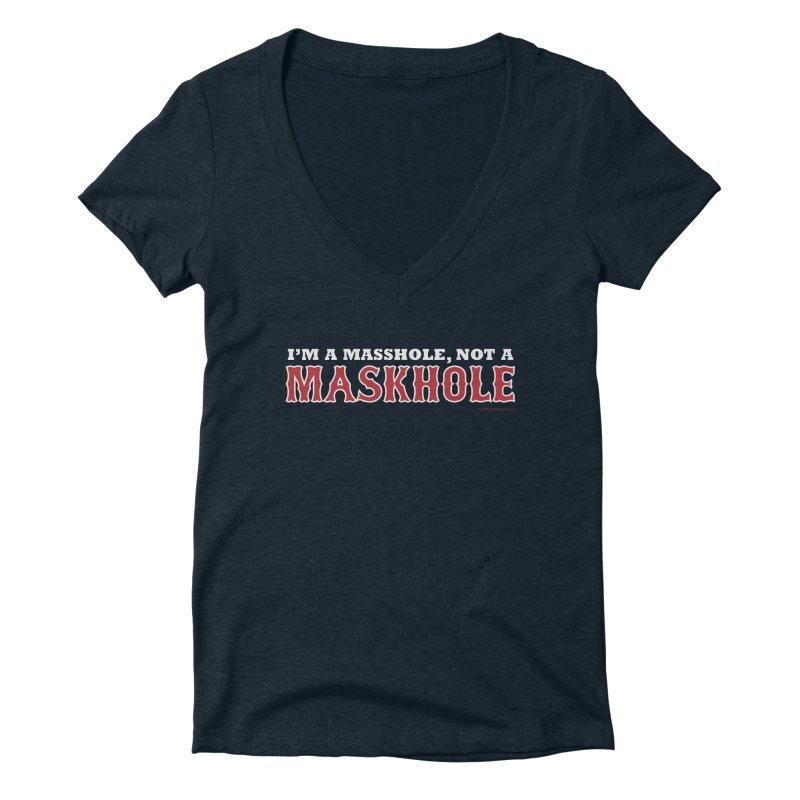 I'm A Masshole, Not A Maskhole (red on blue) Women's V-Neck by Object/Tom Pappalardo