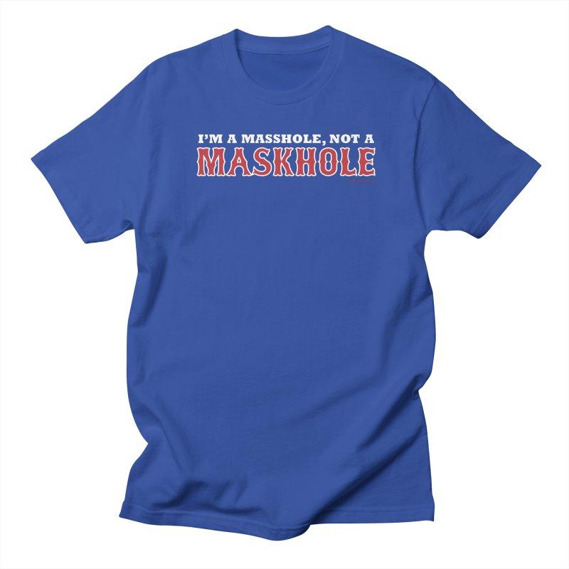 I'm A Masshole, Not A Maskhole (red on blue) Women's T-Shirt by Object