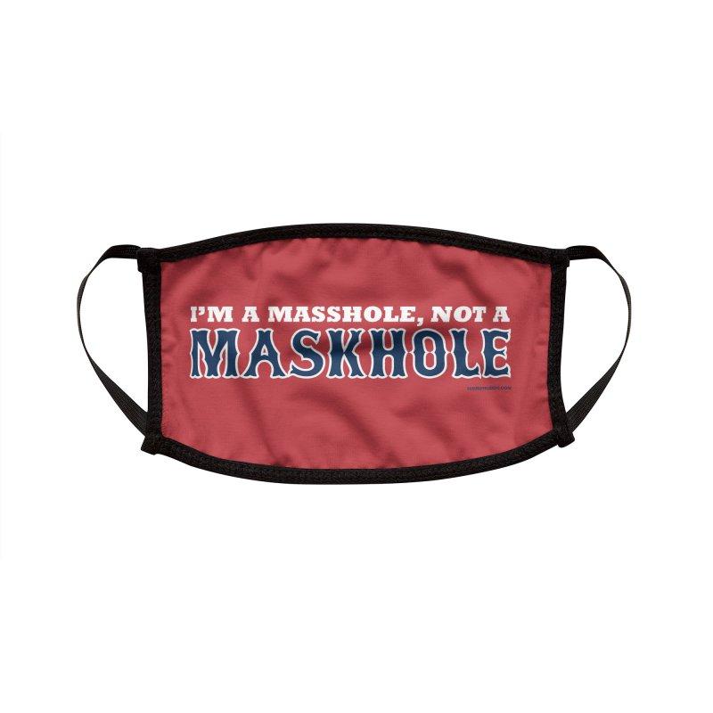 I'm A Masshole, Not A Maskhole (blue on red) Mugs, Buttons, & More Face Mask by Object/Tom Pappalardo