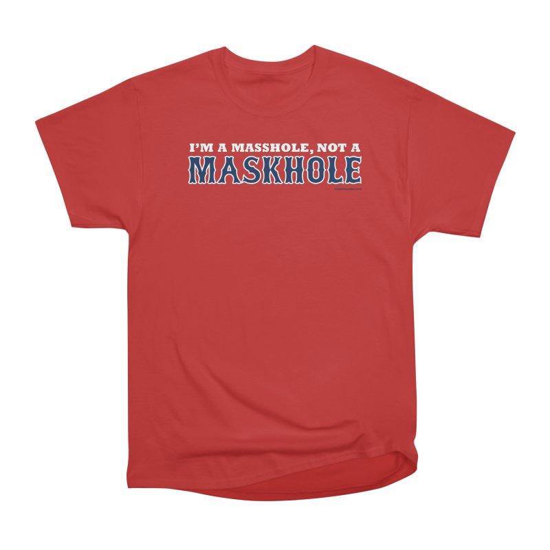I'm A Masshole, Not A Maskhole (blue on red) Men's T-Shirt by Object/Tom Pappalardo