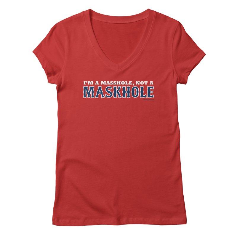 I'm A Masshole, Not A Maskhole (blue on red) Women's V-Neck by Object/Tom Pappalardo