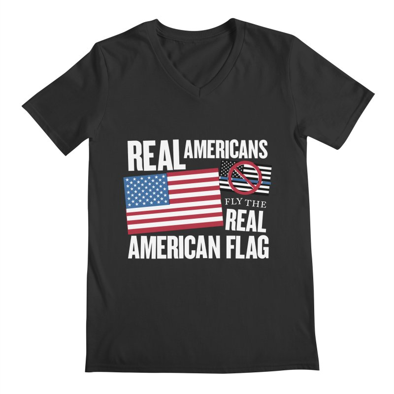 Real Americans Fly The Real American Flag Men's V-Neck by Object/Tom Pappalardo