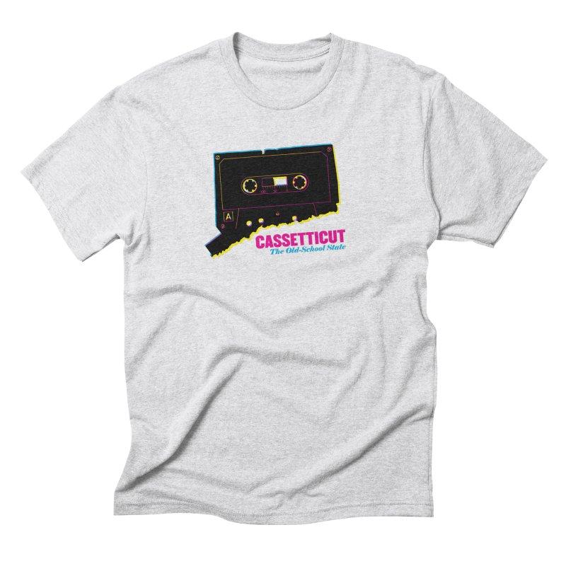 Cassetticut: The Old School State in Men's Triblend T-Shirt Heather White by Tom Pappalardo / Standard Design