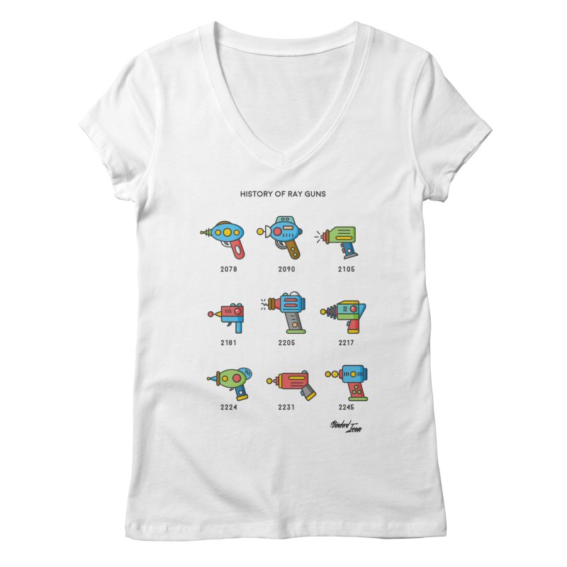 History of Ray Guns Women's V-Neck by Standard Issue Clothing