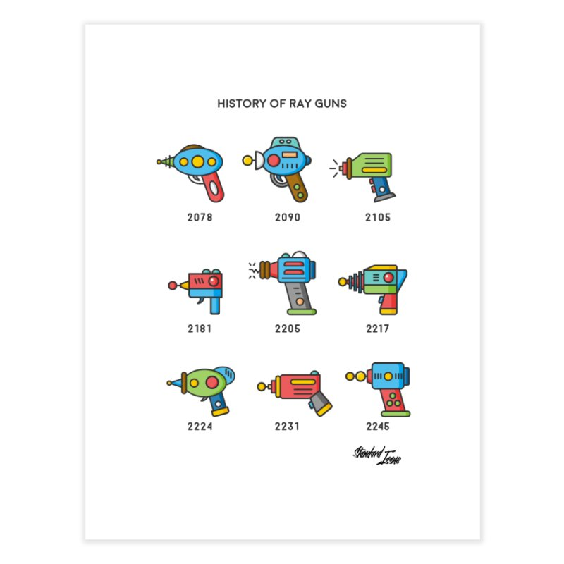 History of Ray Guns Home Fine Art Print by Standard Issue Clothing