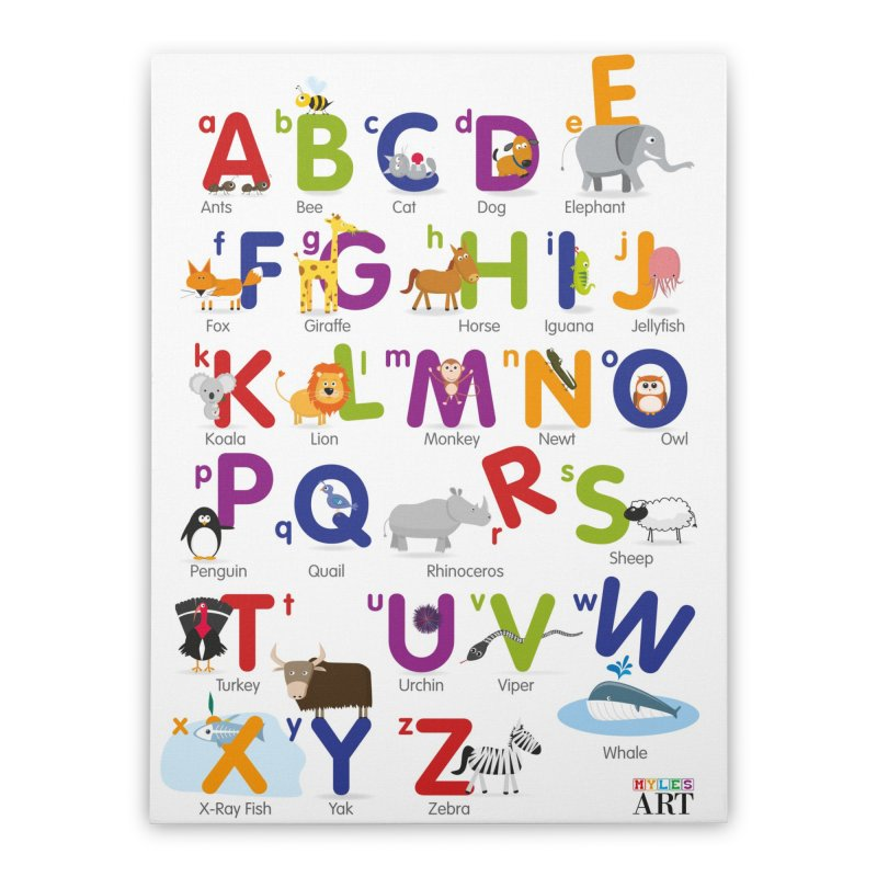 Animal Alphabet Home Stretched Canvas by Standard Issue Clothing