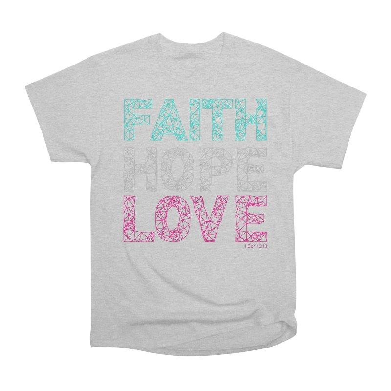 Faith Hope Love Men's Heavyweight T-Shirt by Stand Forgiven ✝ Bible-inspired designer brand