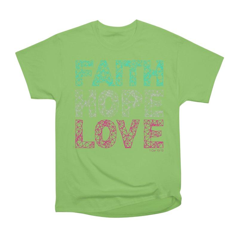 Faith Hope Love Women's Heavyweight Unisex T-Shirt by Stand Forgiven ✝ Bible-inspired designer brand