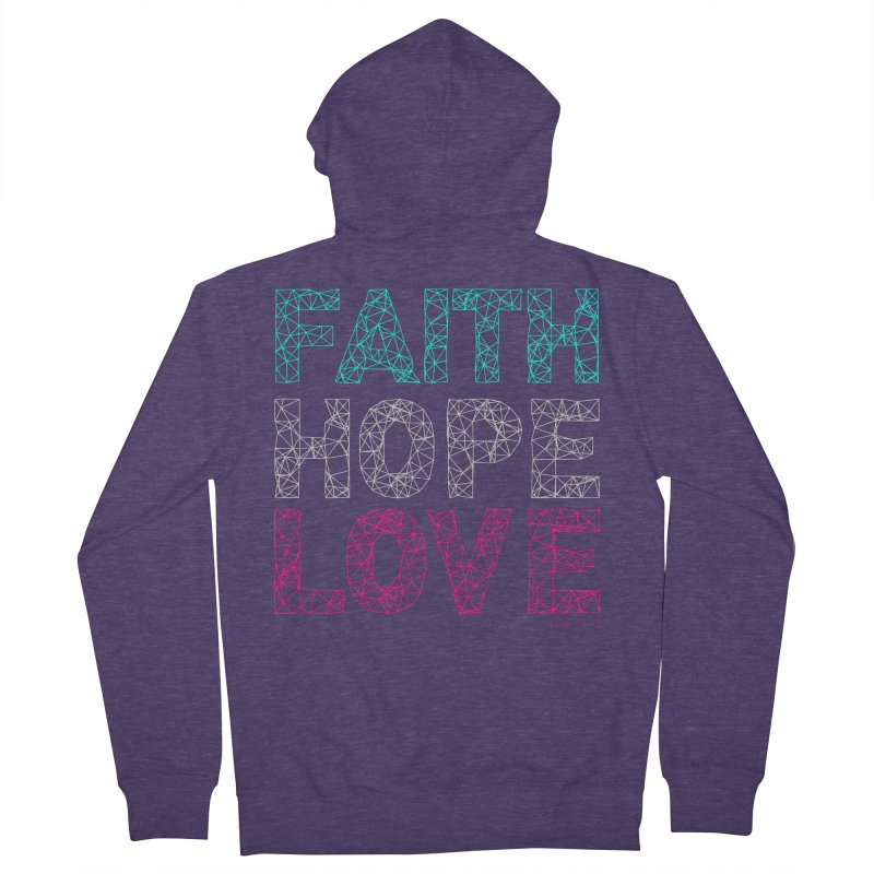Faith Hope Love Men's French Terry Zip-Up Hoody by Stand Forgiven ✝ Bible-inspired designer brand