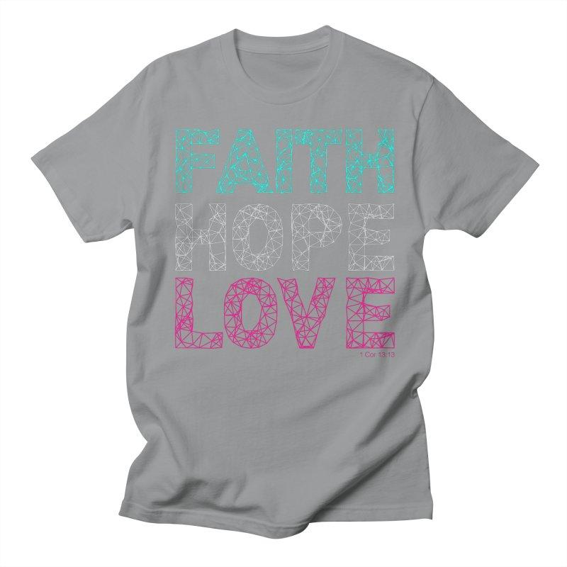 Faith Hope Love Men's Regular T-Shirt by Stand Forgiven ✝ Bible-inspired designer brand