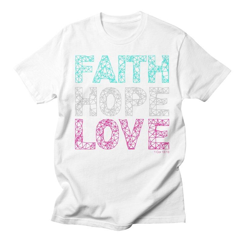 Faith Hope Love Women's Regular Unisex T-Shirt by Stand Forgiven ✝ Bible-inspired designer brand