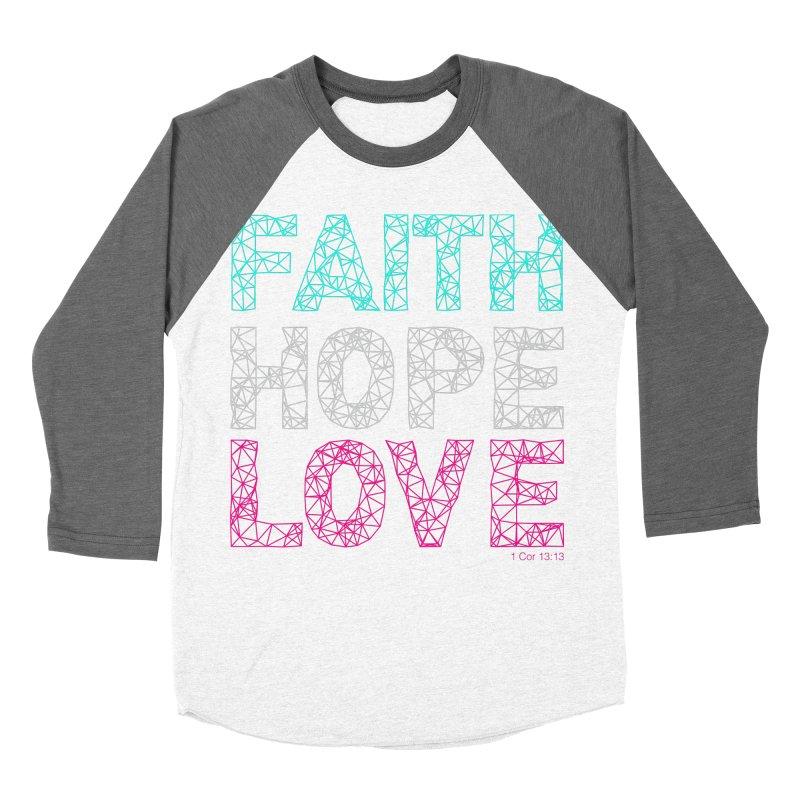 Faith Hope Love Women's Baseball Triblend Longsleeve T-Shirt by Stand Forgiven ✝ Bible-inspired designer brand