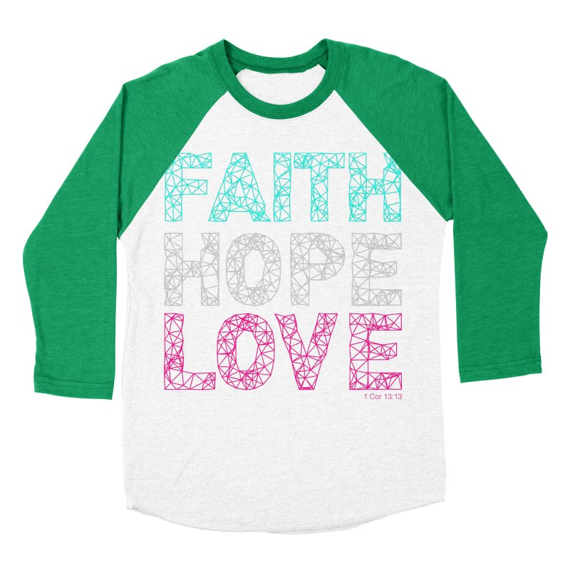 Faith Hope Love Women's Baseball Triblend T-Shirt by Stand Forgiven ✝ Bible-inspired designer brand